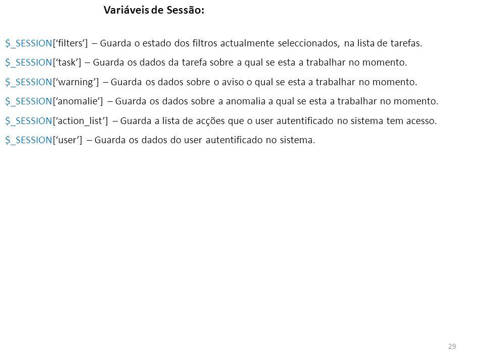 Variáveis de Sessão: $_SESSION['filters'] – Guarda o estado dos filtros actualmente seleccionados, na lista de tarefas.